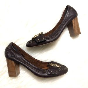 Chloe brown leather loafer pumps